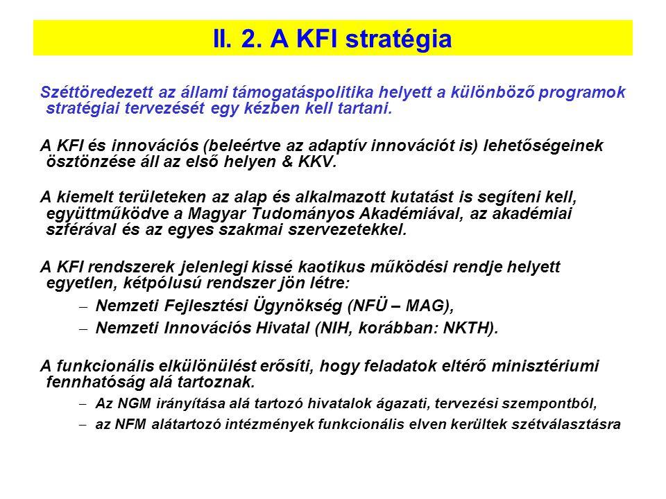 II. 2. A KFI stratégia Széttöredezett az állami támogatáspolitika helyett a különböző programok stratégiai tervezését egy kézben kell tartani.