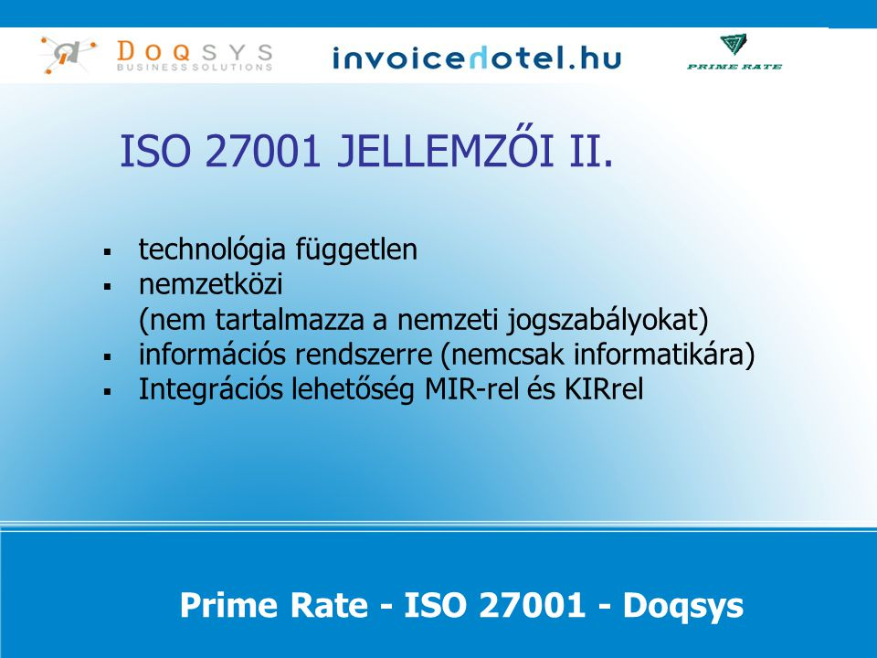 Prime Rate - ISO 27001 - Doqsys