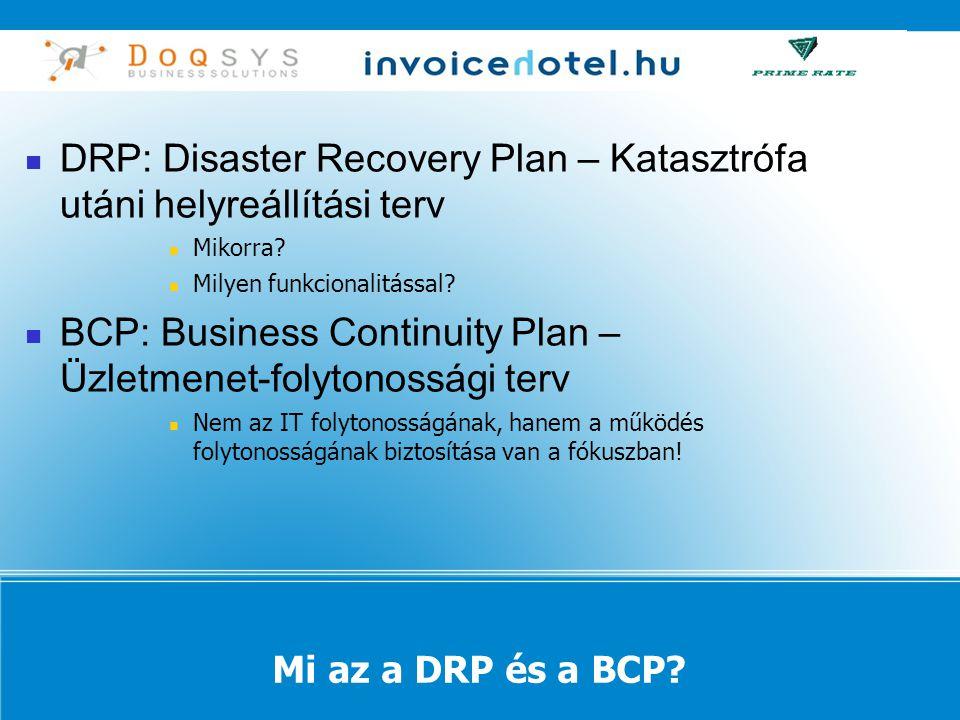 DRP: Disaster Recovery Plan – Katasztrófa utáni helyreállítási terv