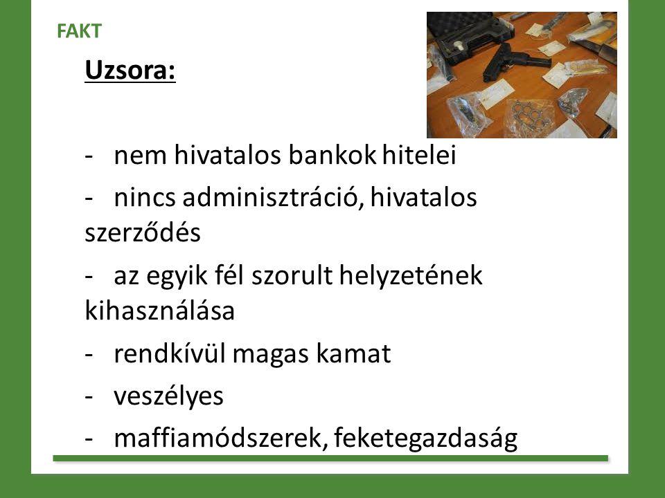 nem hivatalos bankok hitelei nincs adminisztráció, hivatalos szerződés