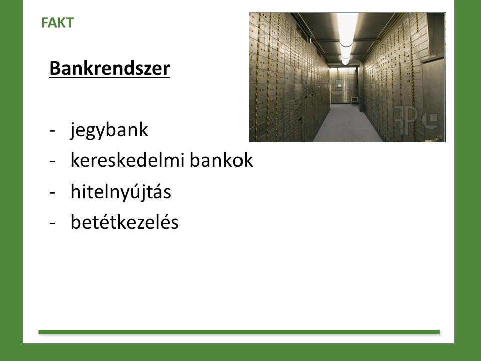 Bankrendszer jegybank kereskedelmi bankok hitelnyújtás betétkezelés