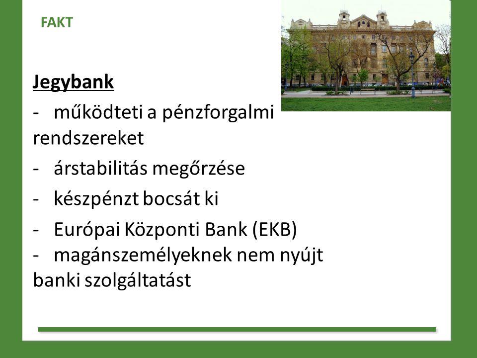 - működteti a pénzforgalmi rendszereket árstabilitás megőrzése