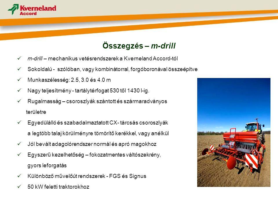 Összegzés – m-drill m-drill – mechanikus vetésrendszerek a Kverneland Accord-tól.