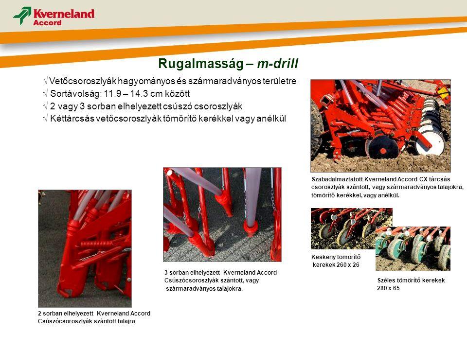Rugalmasság – m-drill √ Vetőcsoroszlyák hagyományos és szármaradványos területre. √ Sortávolság: 11.9 – 14.3 cm között.