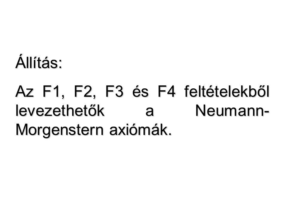 Állítás: Az F1, F2, F3 és F4 feltételekből levezethetők a Neumann-Morgenstern axiómák.