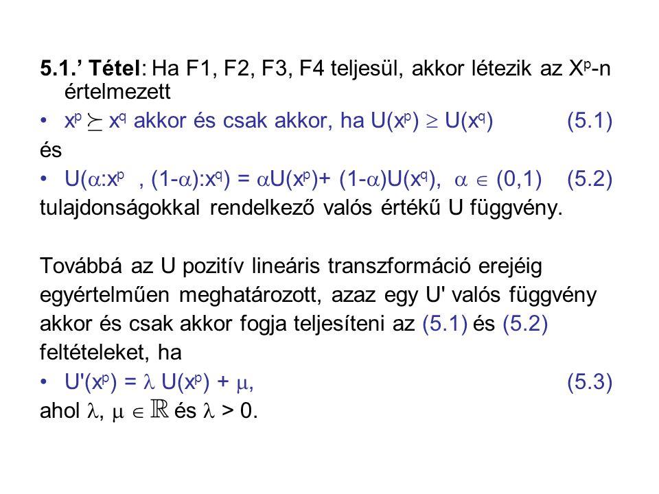 5.1.' Tétel: Ha F1, F2, F3, F4 teljesül, akkor létezik az Xp-n értelmezett