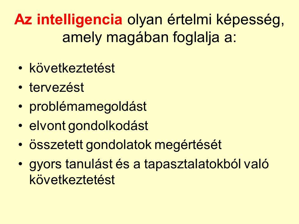 Az intelligencia olyan értelmi képesség, amely magában foglalja a: