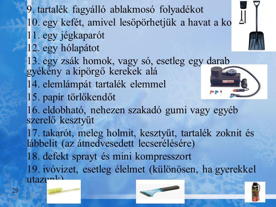 9. tartalék fagyálló ablakmosó folyadékot