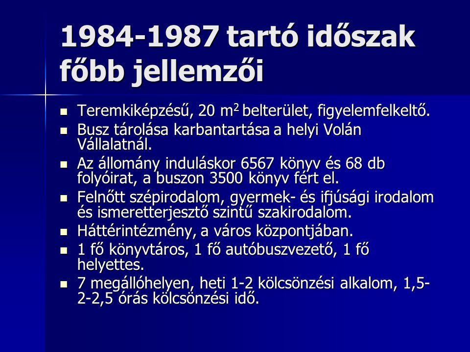 1984-1987 tartó időszak főbb jellemzői