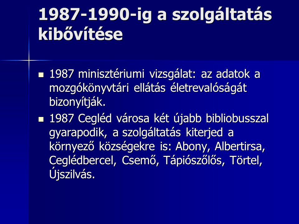 1987-1990-ig a szolgáltatás kibővítése