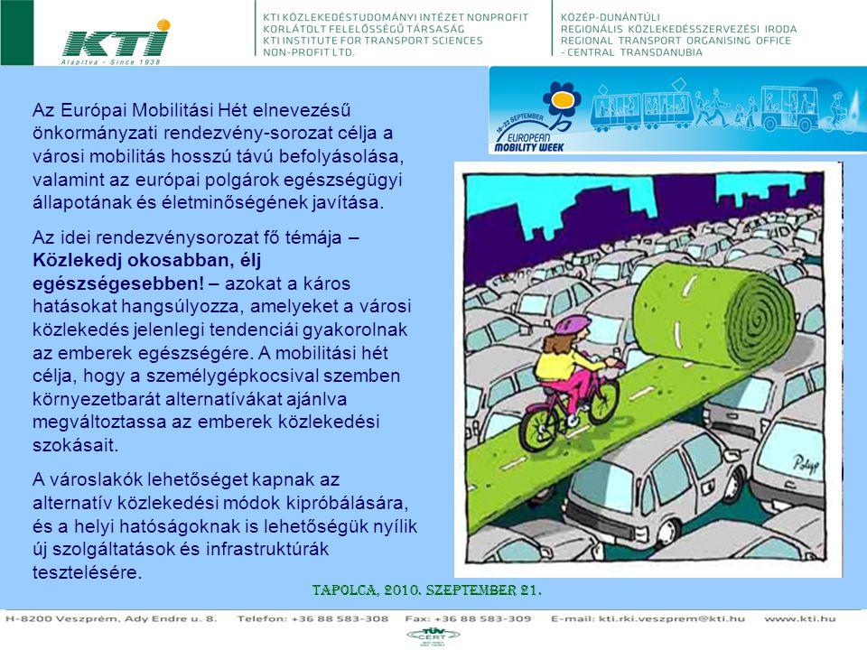 Az Európai Mobilitási Hét elnevezésű önkormányzati rendezvény-sorozat célja a városi mobilitás hosszú távú befolyásolása, valamint az európai polgárok egészségügyi állapotának és életminőségének javítása.