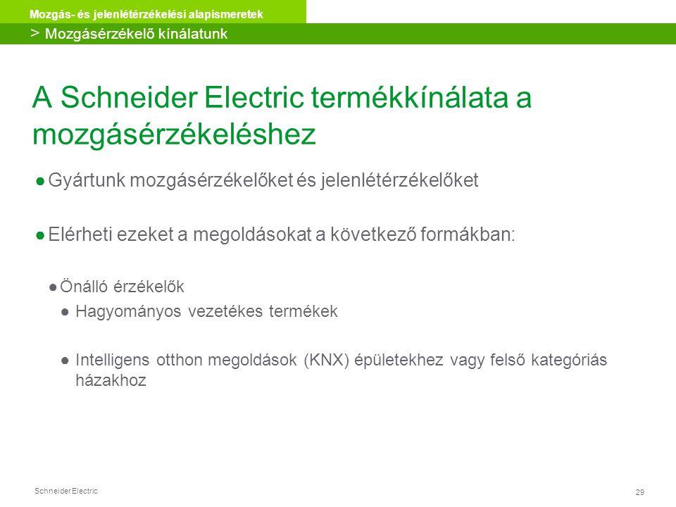 A Schneider Electric termékkínálata a mozgásérzékeléshez