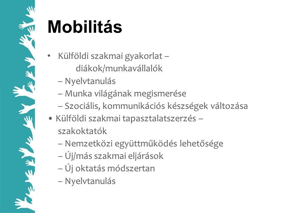 Mobilitás Külföldi szakmai gyakorlat – diákok/munkavállalók