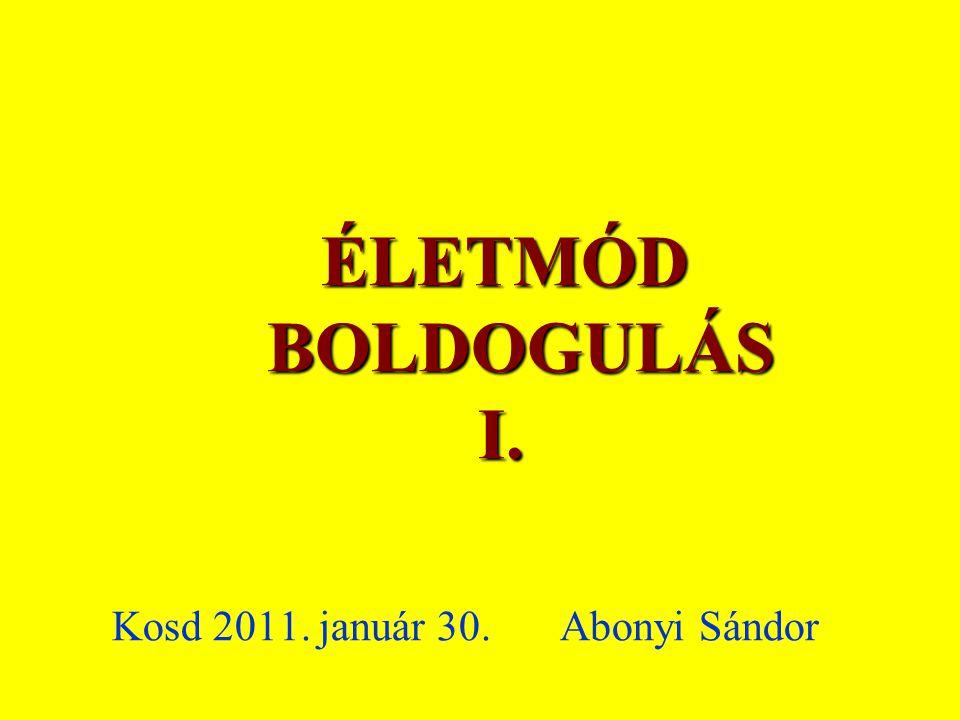 ÉLETMÓD BOLDOGULÁS I. Kosd 2011. január 30. Abonyi Sándor