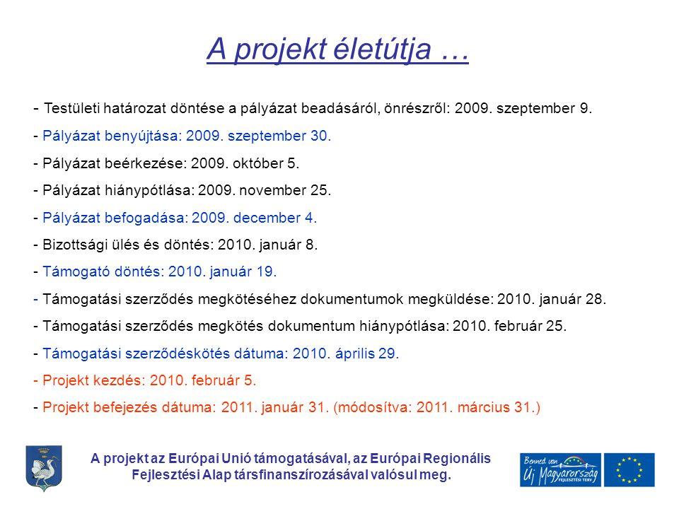 A projekt életútja … Testületi határozat döntése a pályázat beadásáról, önrészről: 2009. szeptember 9.