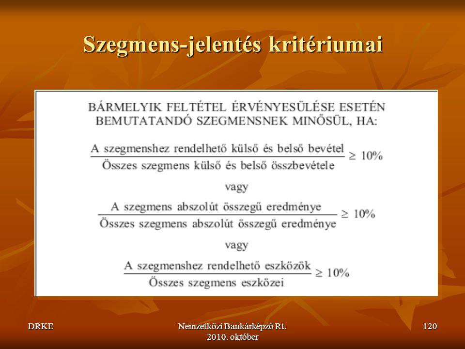 Szegmens-jelentés kritériumai
