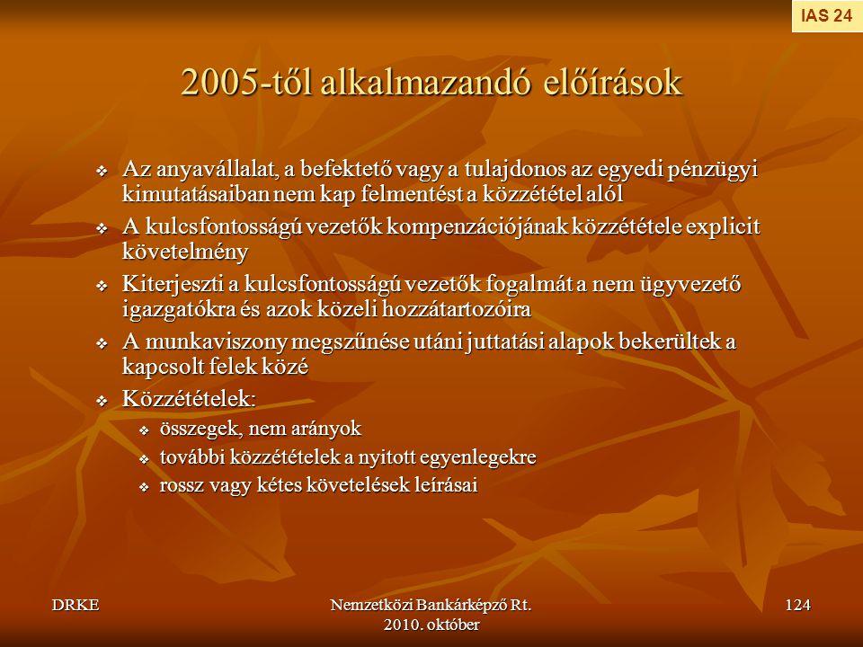 2005-től alkalmazandó előírások