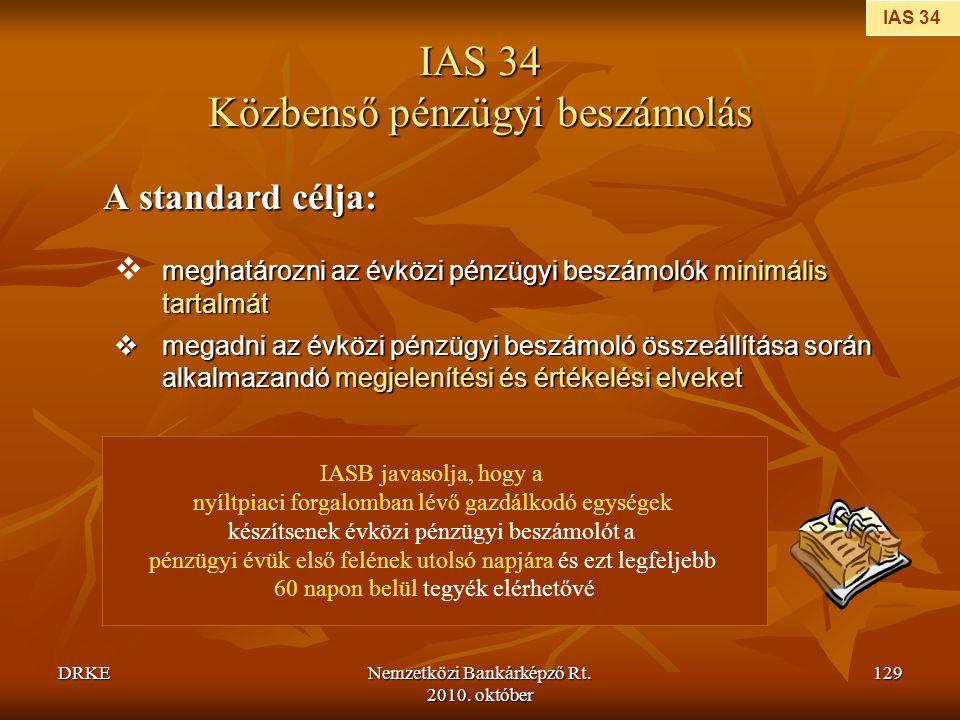 IAS 34 Közbenső pénzügyi beszámolás