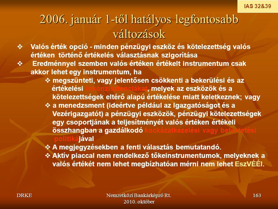 2006. január 1-től hatályos legfontosabb változások