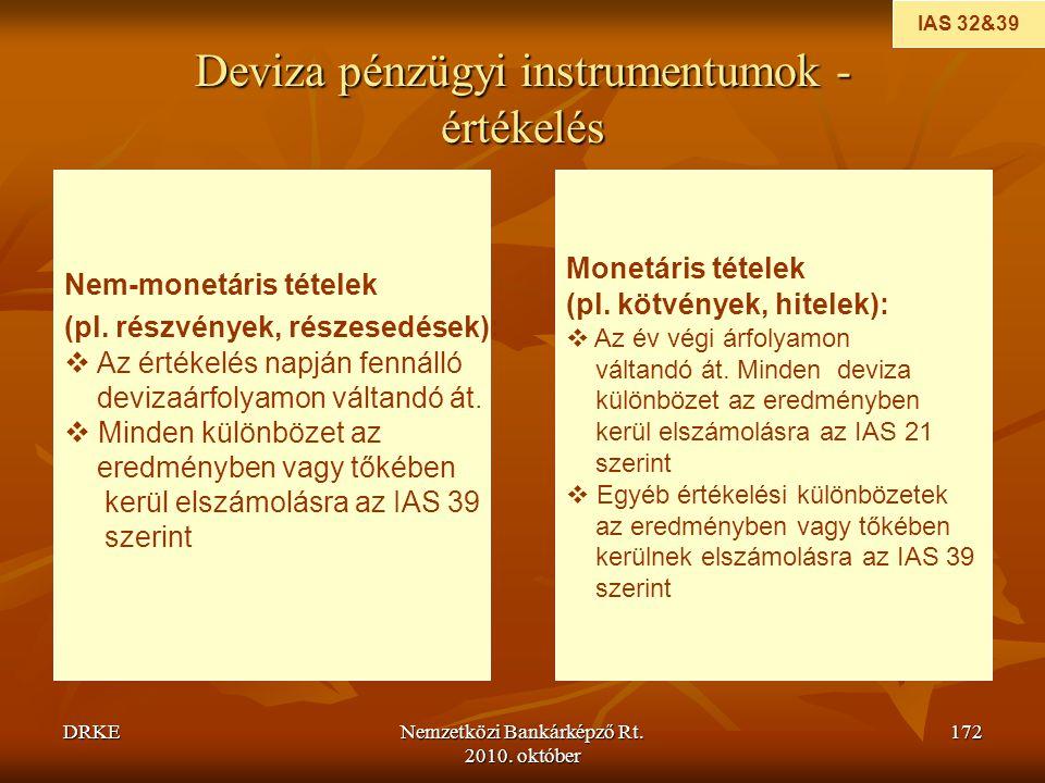 Deviza pénzügyi instrumentumok - értékelés