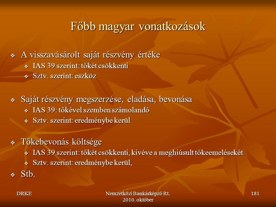 Főbb magyar vonatkozások