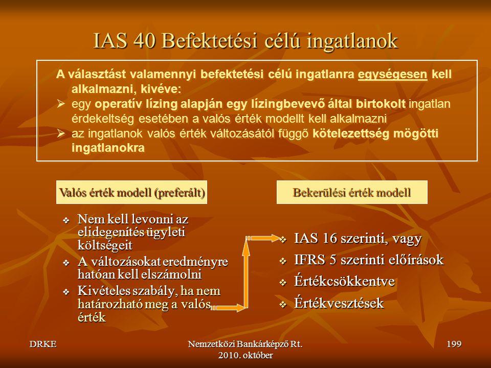 IAS 40 Befektetési célú ingatlanok