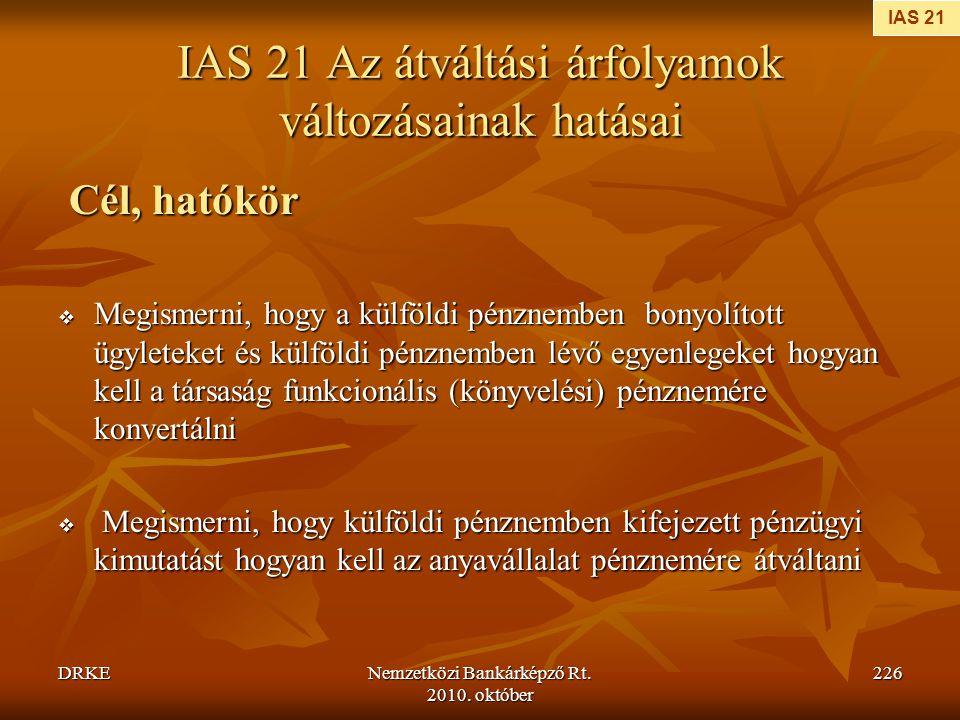 IAS 21 Az átváltási árfolyamok változásainak hatásai