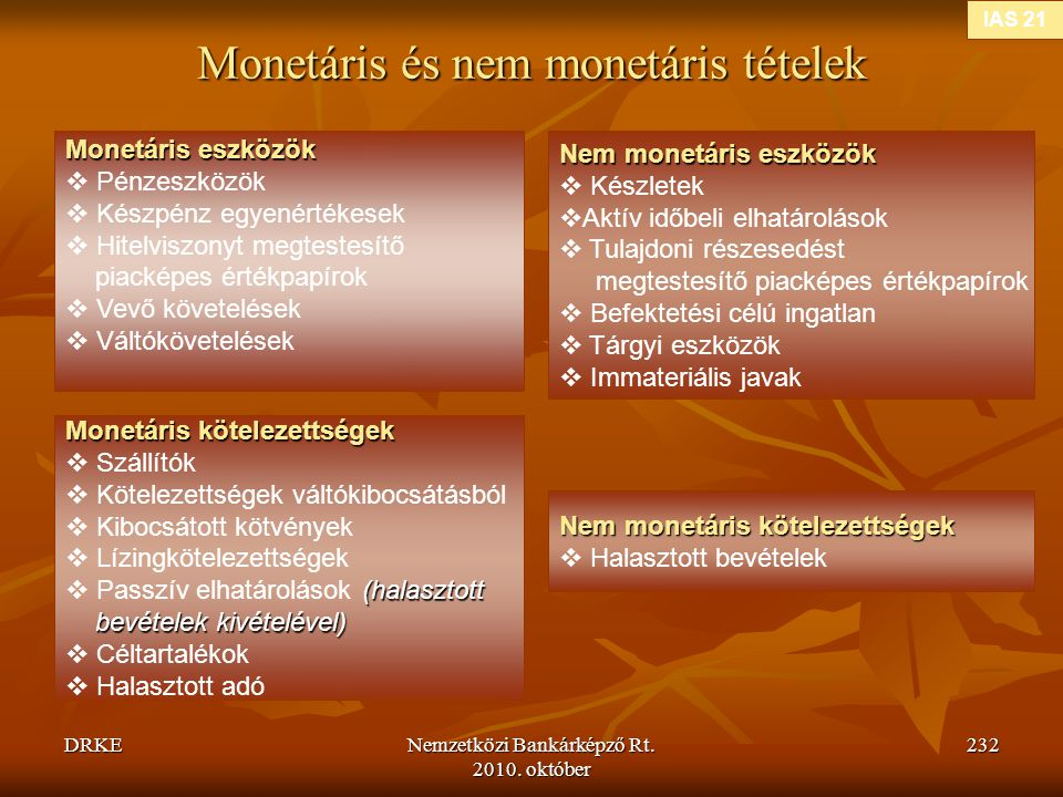 Monetáris és nem monetáris tételek
