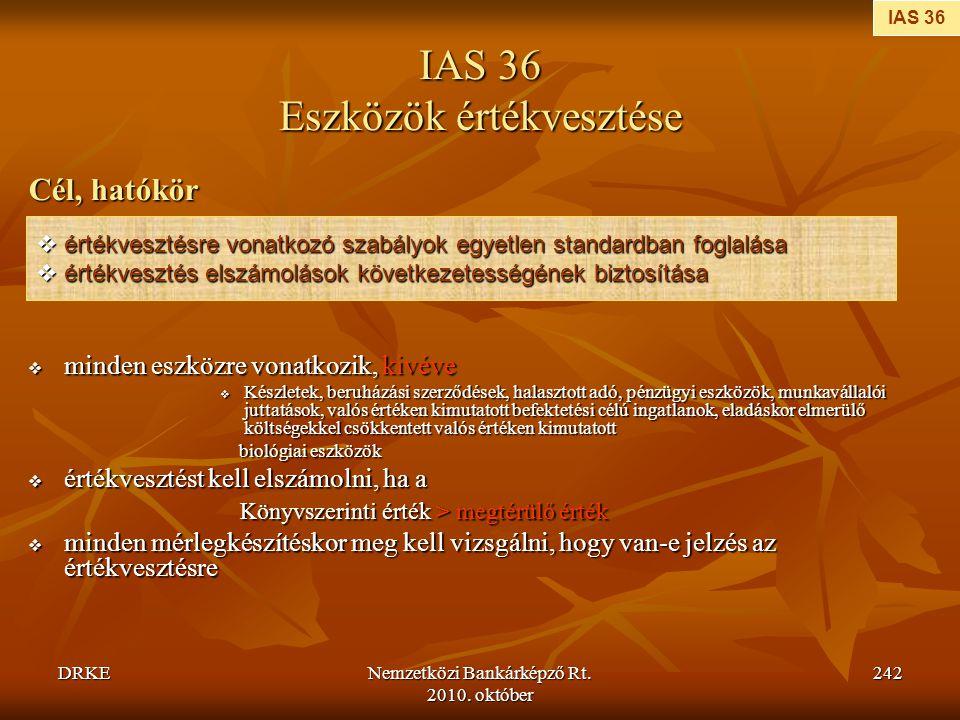 IAS 36 Eszközök értékvesztése
