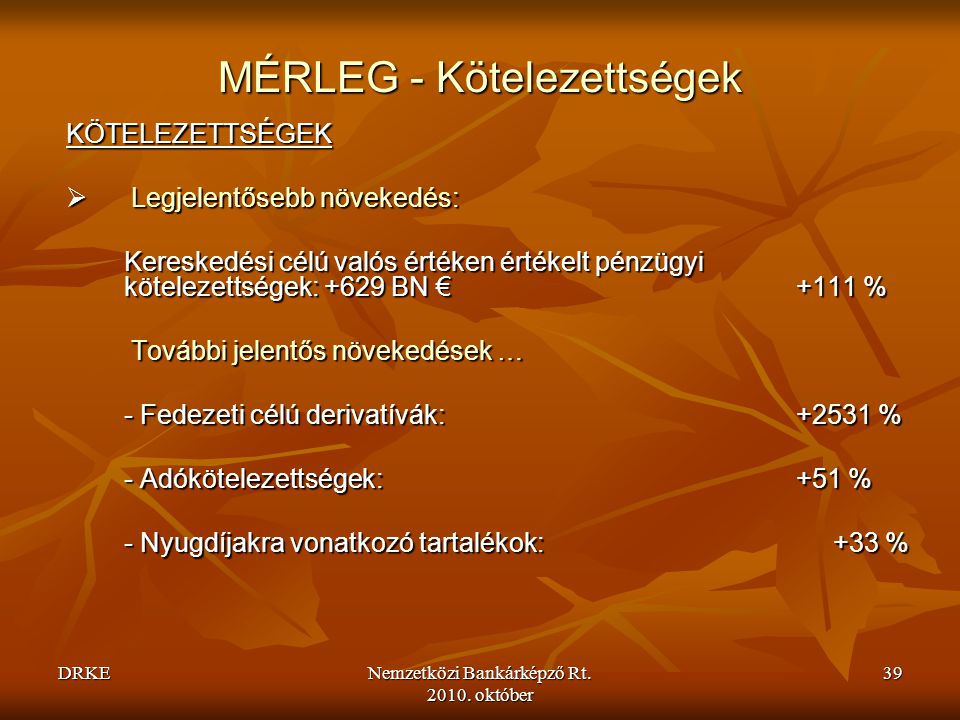 MÉRLEG - Kötelezettségek