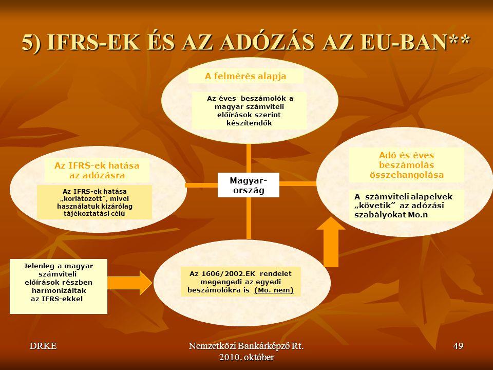 5) IFRS-EK ÉS AZ ADÓZÁS AZ EU-BAN**