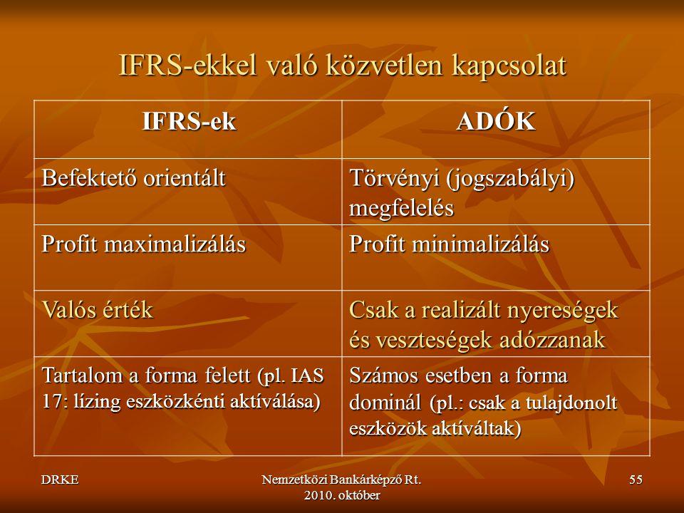 IFRS-ekkel való közvetlen kapcsolat