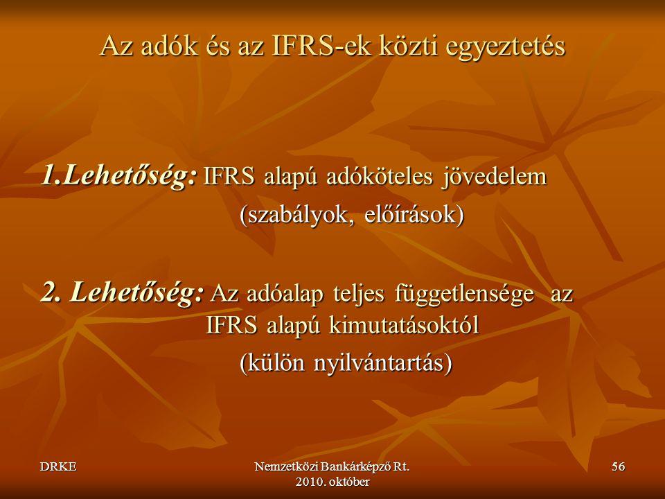 Az adók és az IFRS-ek közti egyeztetés