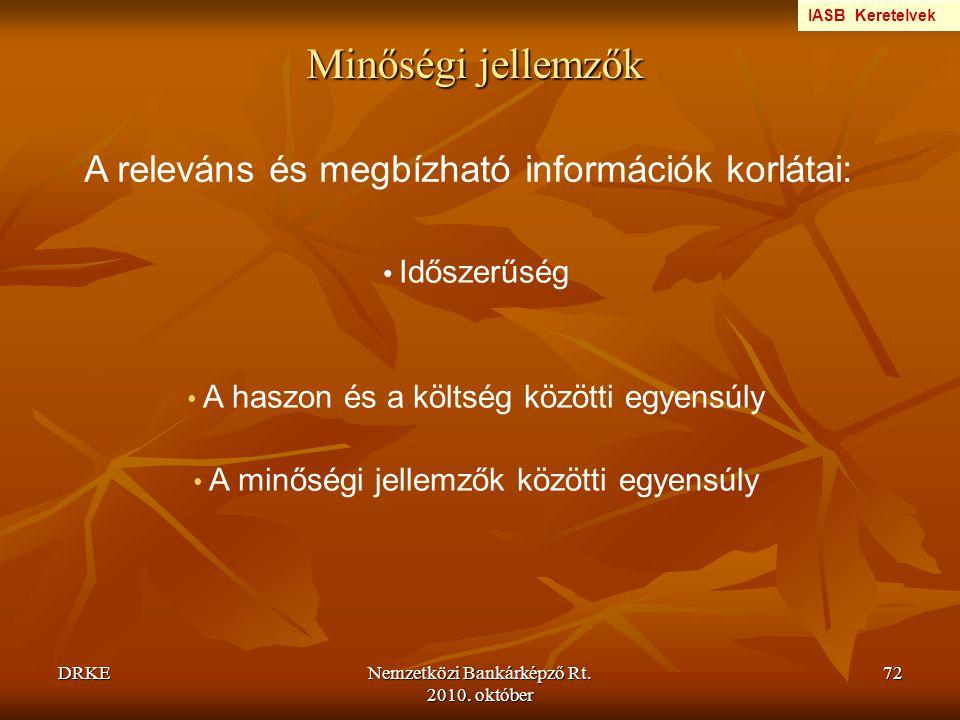 Minőségi jellemzők A releváns és megbízható információk korlátai: