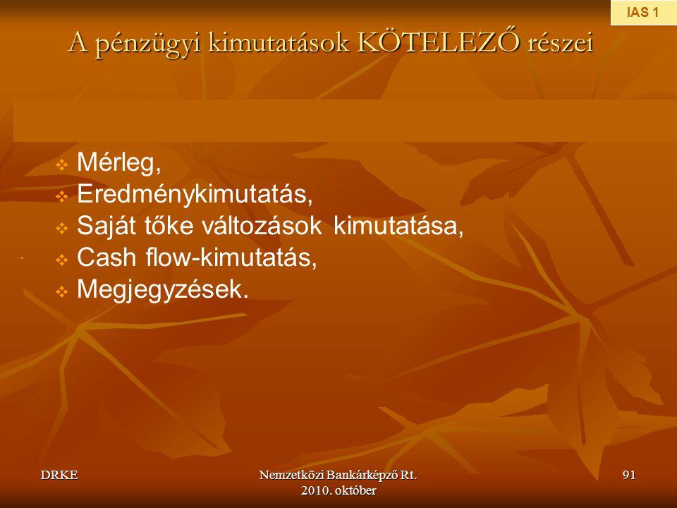 A pénzügyi kimutatások KÖTELEZŐ részei