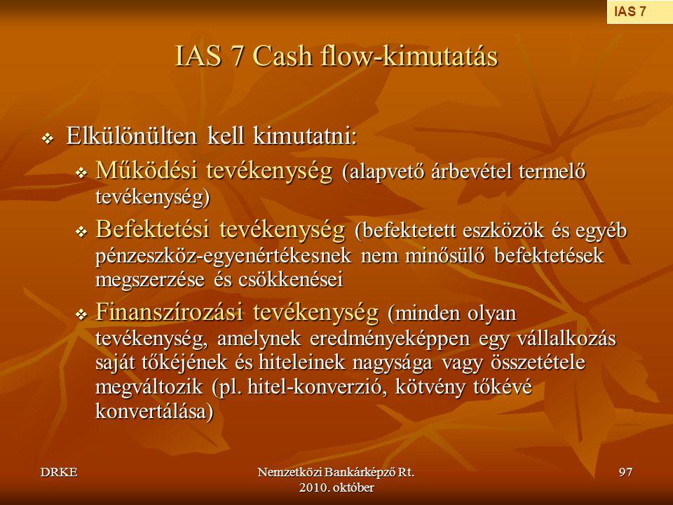 IAS 7 Cash flow-kimutatás