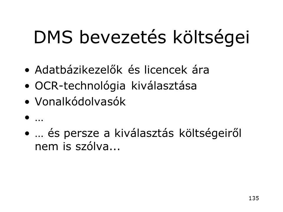 DMS bevezetés költségei