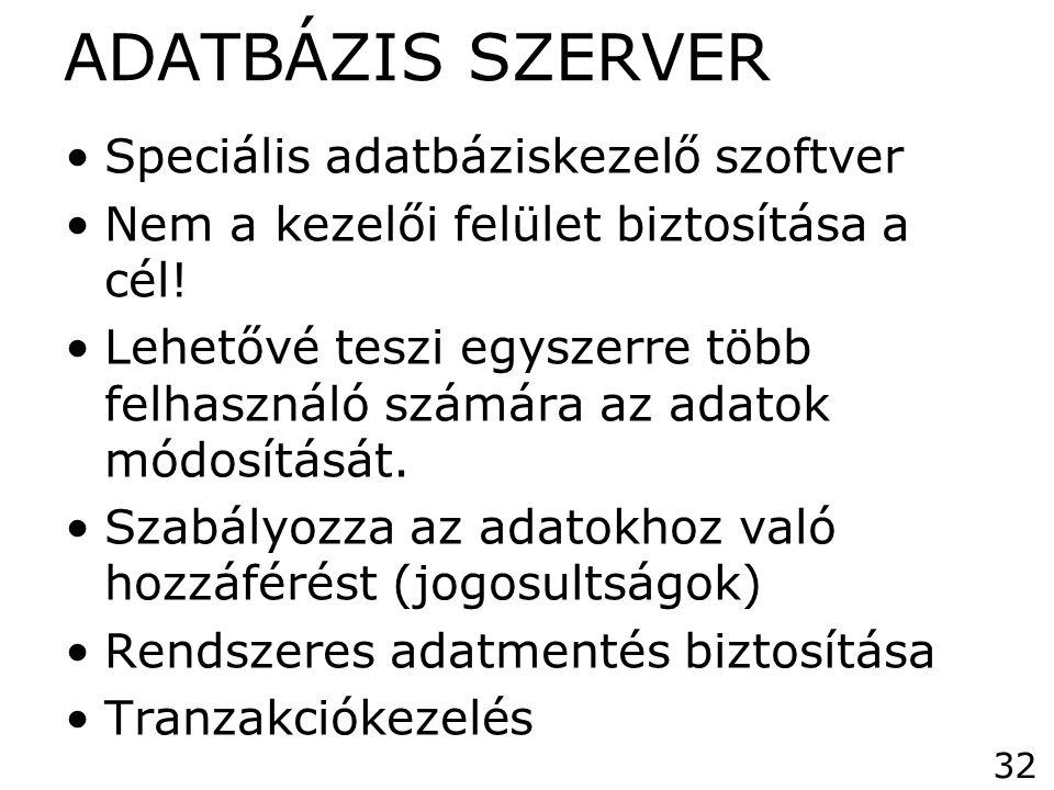 ADATBÁZIS SZERVER Speciális adatbáziskezelő szoftver