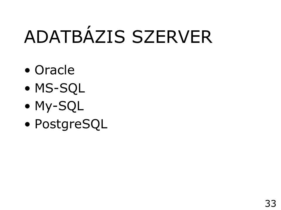 ADATBÁZIS SZERVER Oracle MS-SQL My-SQL PostgreSQL 33
