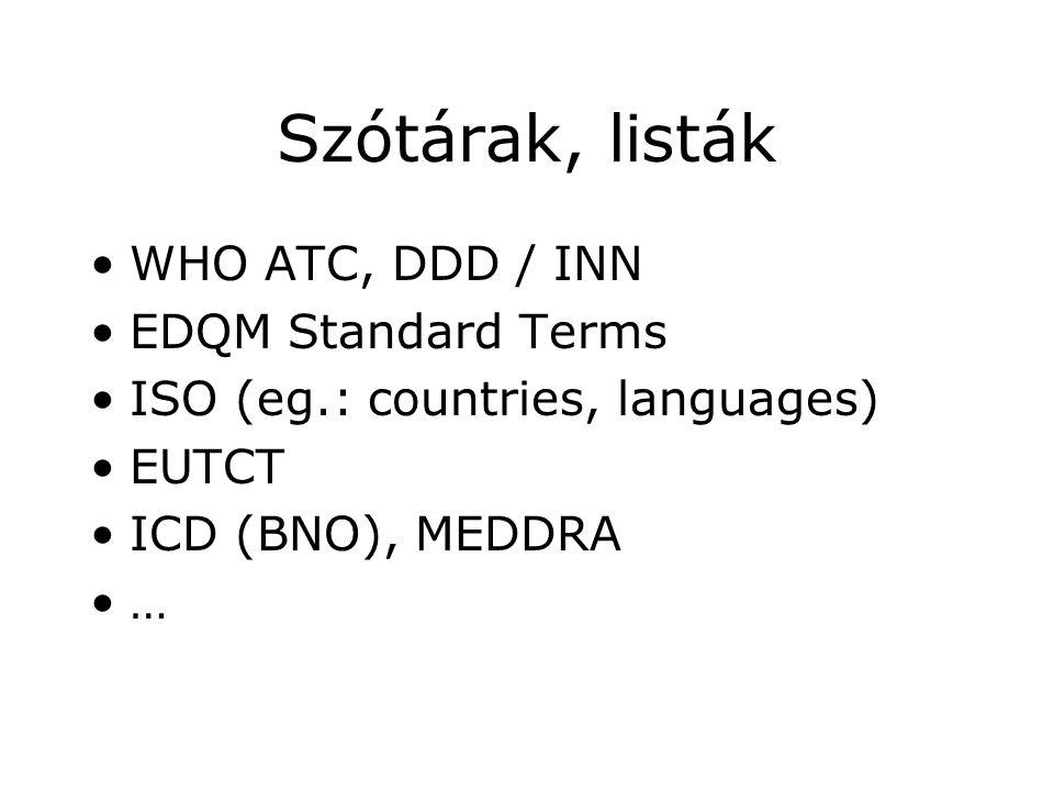 Szótárak, listák WHO ATC, DDD / INN EDQM Standard Terms
