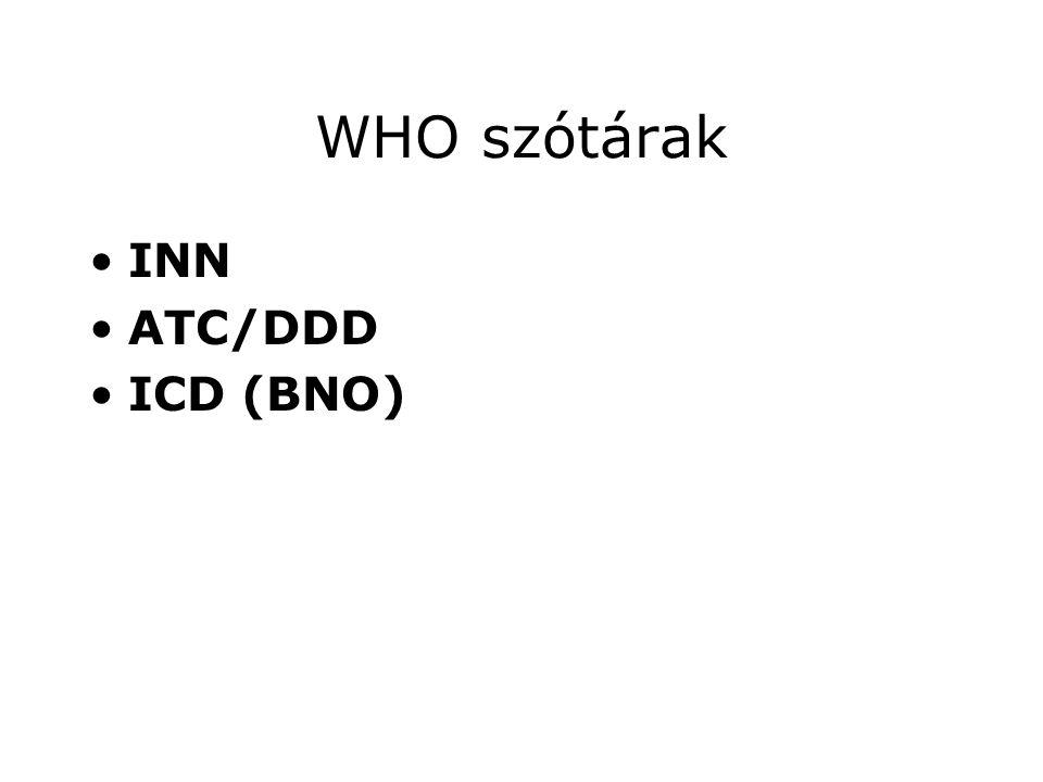 WHO szótárak INN ATC/DDD ICD (BNO)