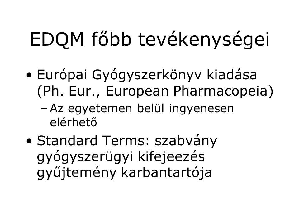 EDQM főbb tevékenységei