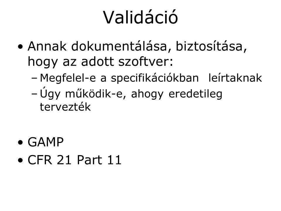 Validáció Annak dokumentálása, biztosítása, hogy az adott szoftver: