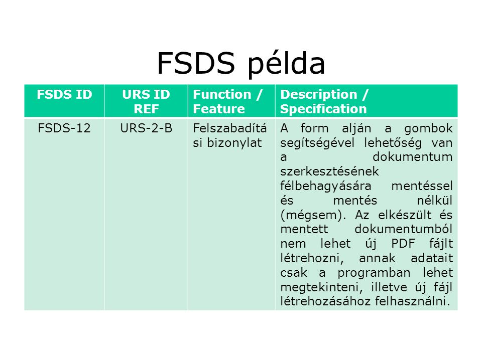 FSDS példa FSDS ID URS ID REF Function / Feature