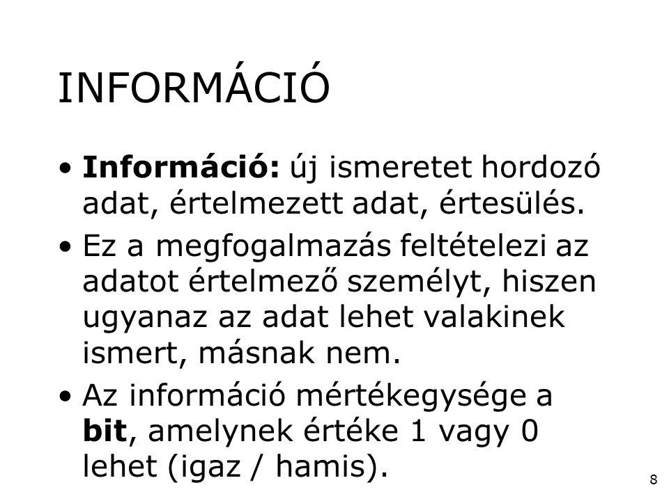 INFORMÁCIÓ Információ: új ismeretet hordozó adat, értelmezett adat, értesülés.