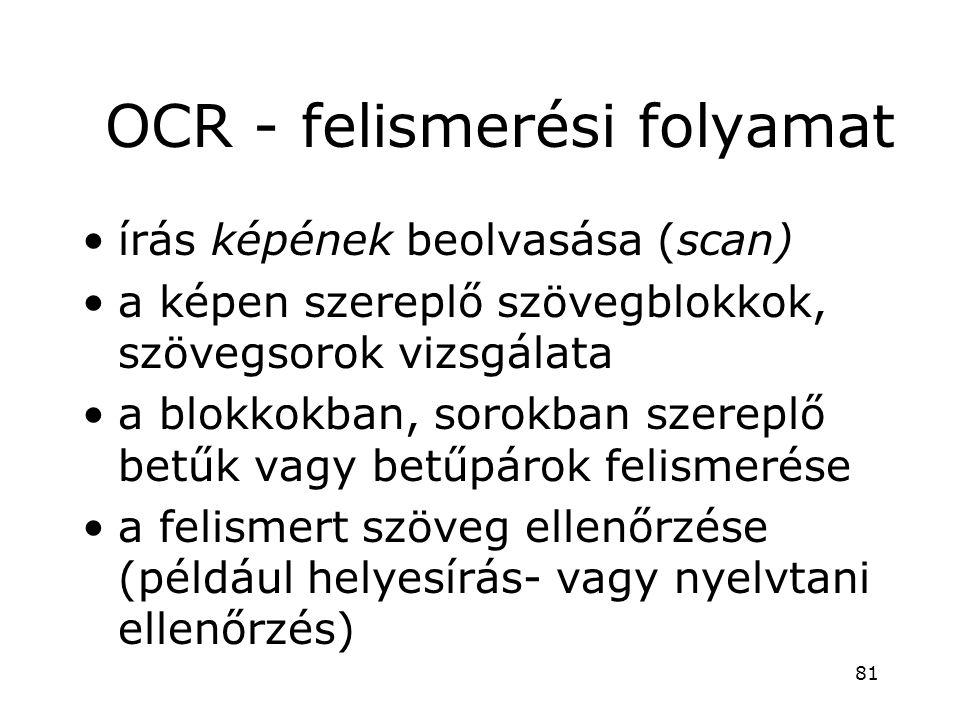 OCR - felismerési folyamat
