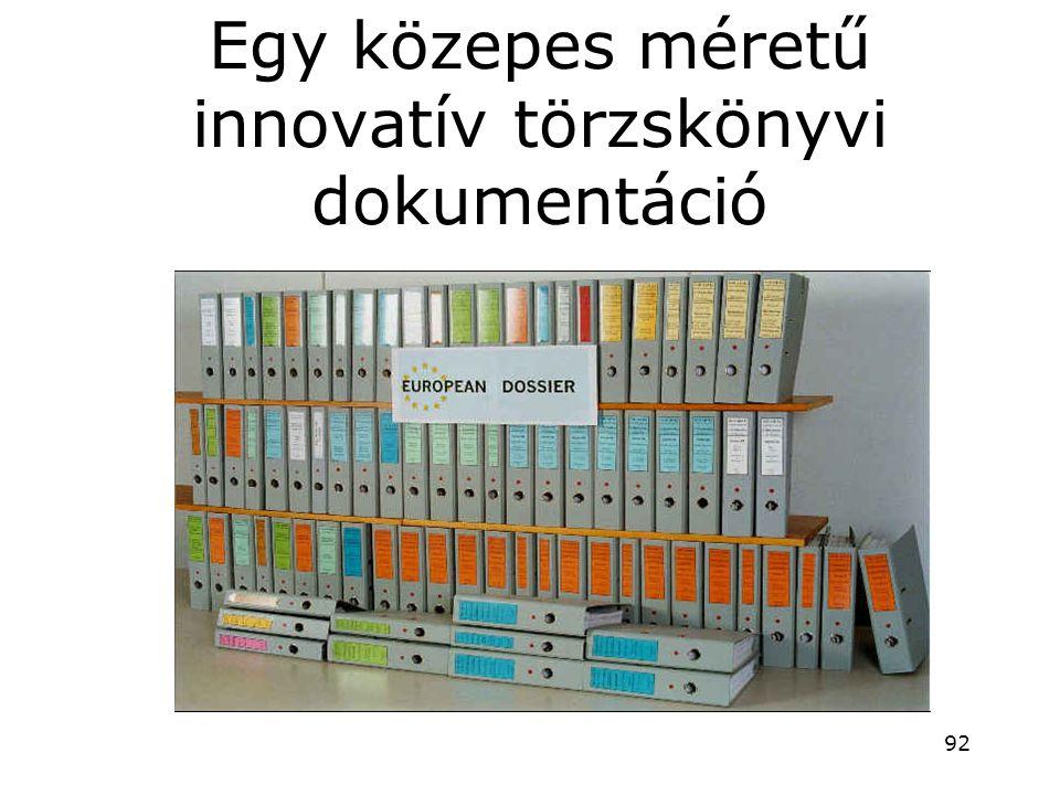 Egy közepes méretű innovatív törzskönyvi dokumentáció
