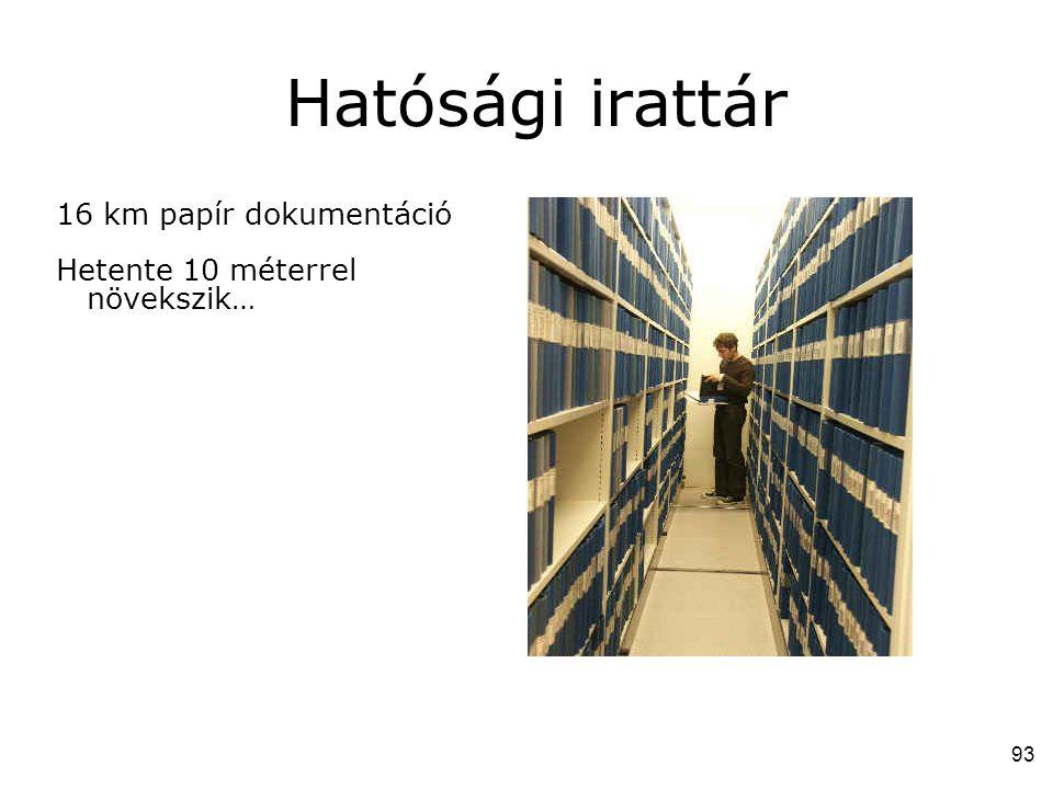 Hatósági irattár 16 km papír dokumentáció