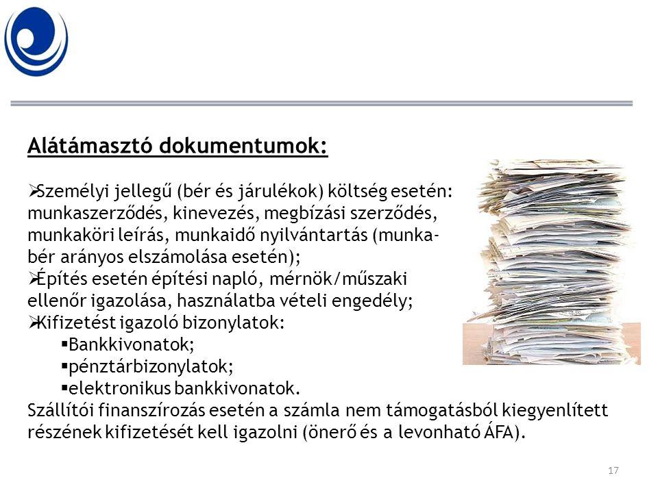 Alátámasztó dokumentumok: