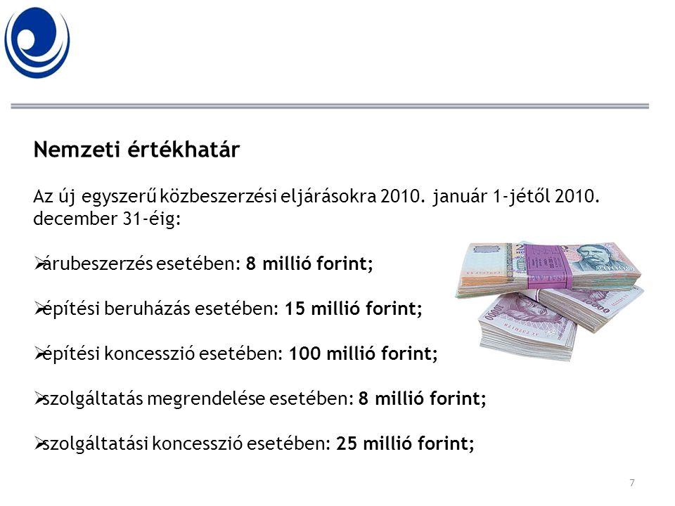Nemzeti értékhatár Az új egyszerű közbeszerzési eljárásokra 2010. január 1-jétől 2010. december 31-éig: